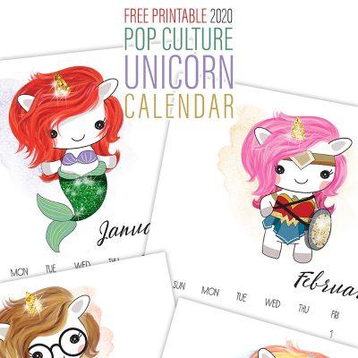 Free Printable 2020 Pop Culture Unicorn Calendar