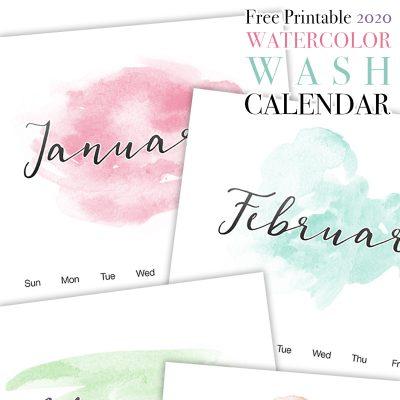 Free Printable 2020 Watercolor Wash Calendar