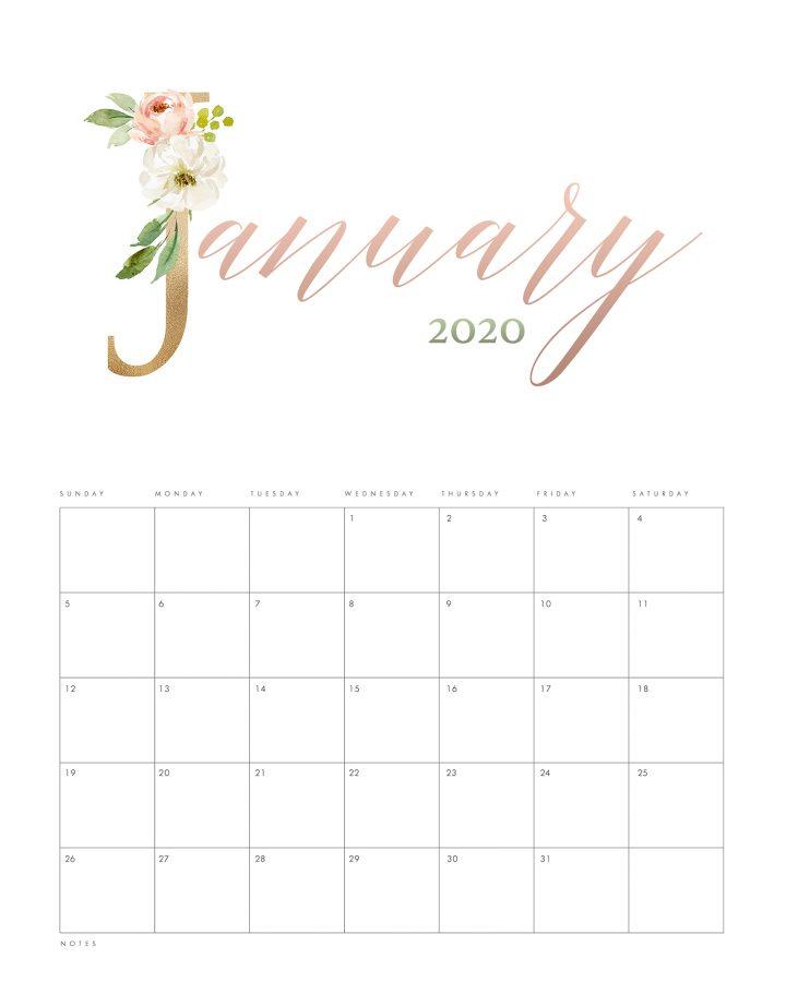 pretty floral free printable 2020 calendar