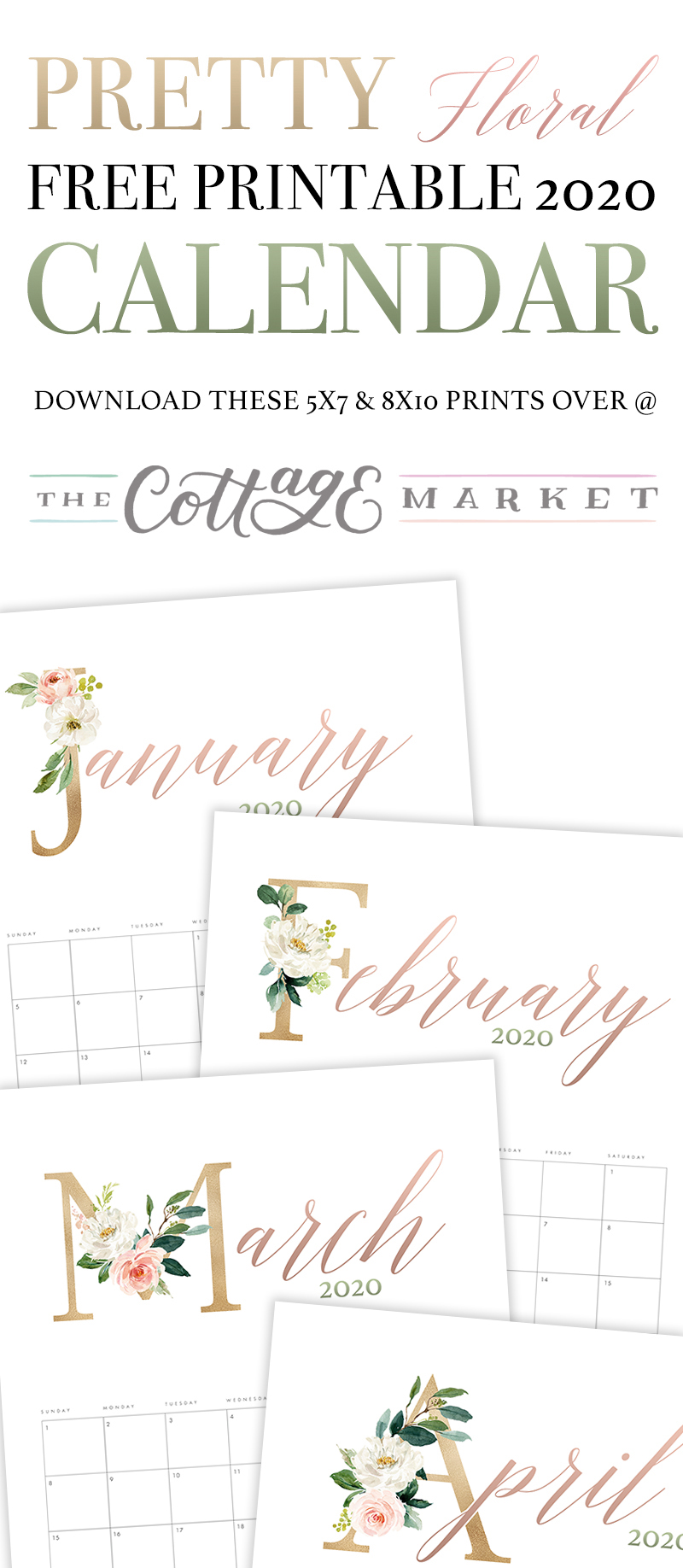 This Pretty Floral Free Printable 2020 Calendar is going to look beautiful on your desk, wall, bulletin board or even in your planner! It will keep you organized all year!