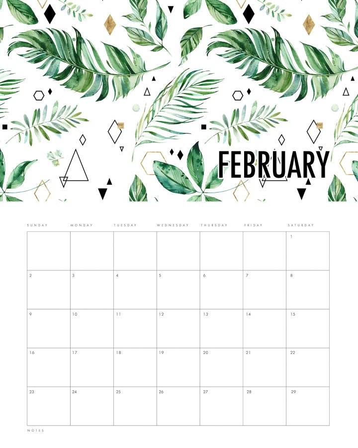 Free Printable 2020 Modern Leaves Calendar