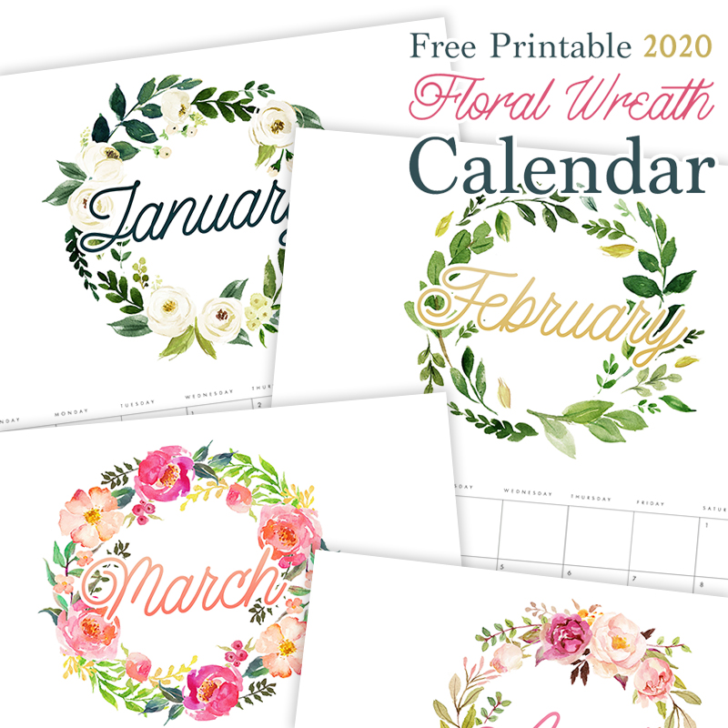 This Gorgeous Free Printable 2020 Floral Wreath Calendar is going to look amazing on your wall, bulletin board, desk or even in your planner! It will keep you organized all year long!