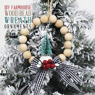 DIY Farmhouse Wood Bead Wreath Ornaments